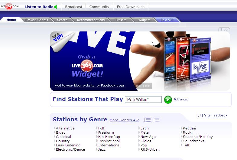 Step 1 - Live365 Home Page